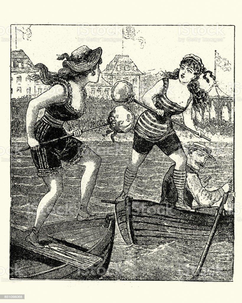 1880 年代海辺で馬上槍試合を再...