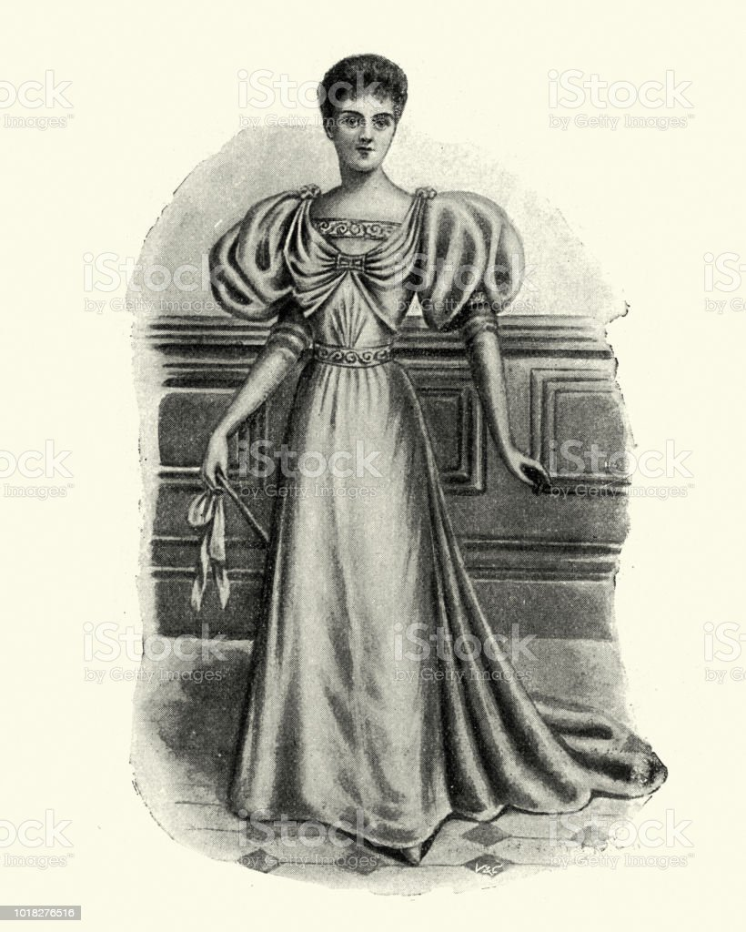 Victorian Womens Fashions 1890s Evening Gown With Puffed Sleeves ...