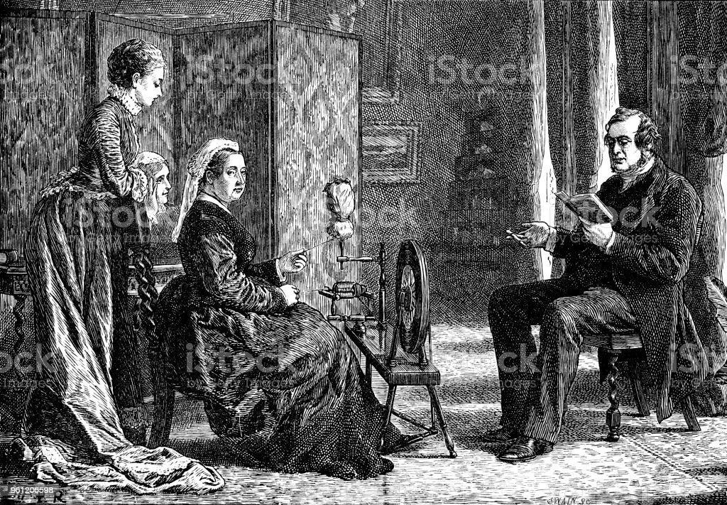 Victorian wood cut of Dr Norman McCloud reading to Queen Victoria; 19th century English monarchy and queens vector art illustration