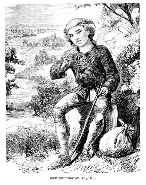 Victorian woodcut of fairytale character Dick Whittington sat on a stone ;19th century children's story character 1889 Taken from Juvenile Magazine of 1889 Dick stock illustrations