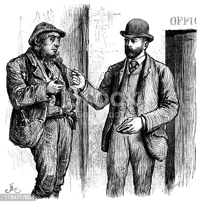 """Two 19th century men standing outside an office door. The smartly dressed man in the bowler hat, holding a pencil and notebook, appears to be the boss and is probably admonishing the scruffily dressed man for feckless behaviour. Slouching around smoking his pipe with a beer bottle in his jacket pocket is not what his boss had in mind when he gave him a job, so perhaps he is dismissing the lazy fellow. From """"The Cottager and Artisan 1890"""". Published by The Religious Tract Society, London."""