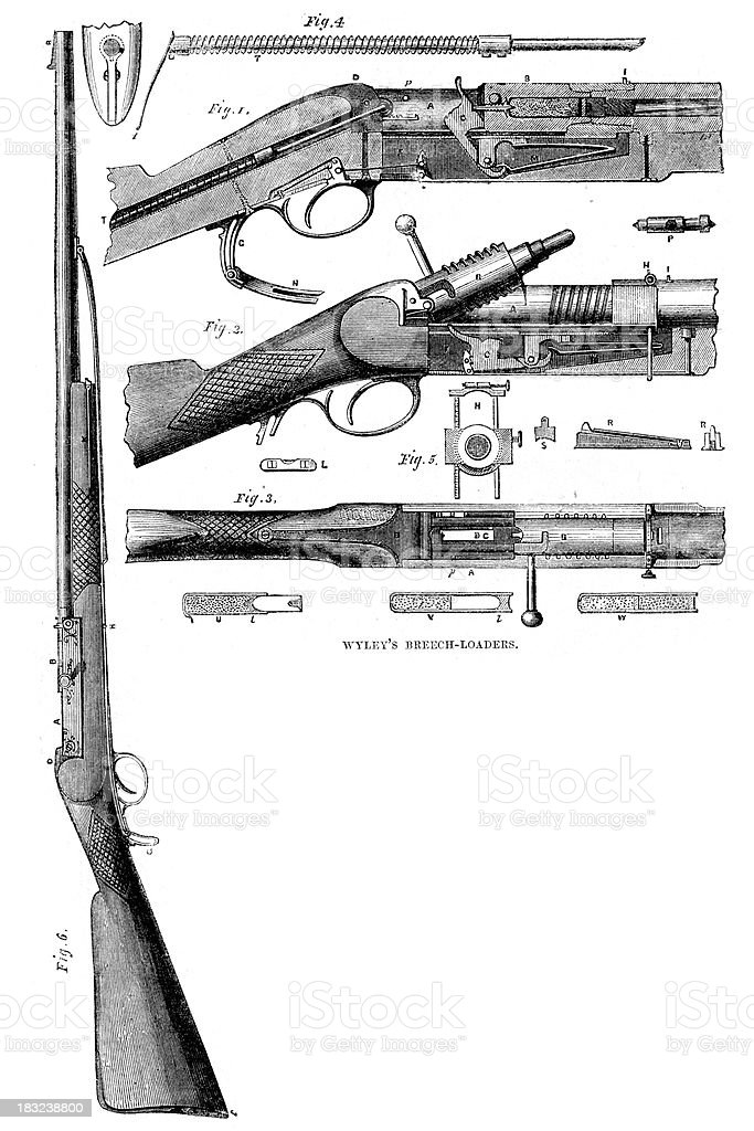 Victorian Wyley's Breech Loading Rifle vector art illustration