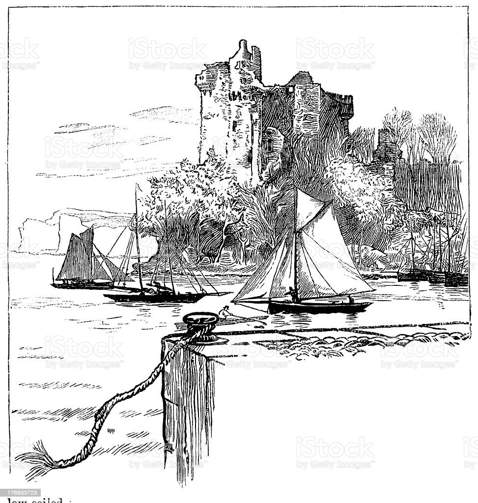 Victorian yachts sailing out past castle from 1880 journal royalty-free stock vector art