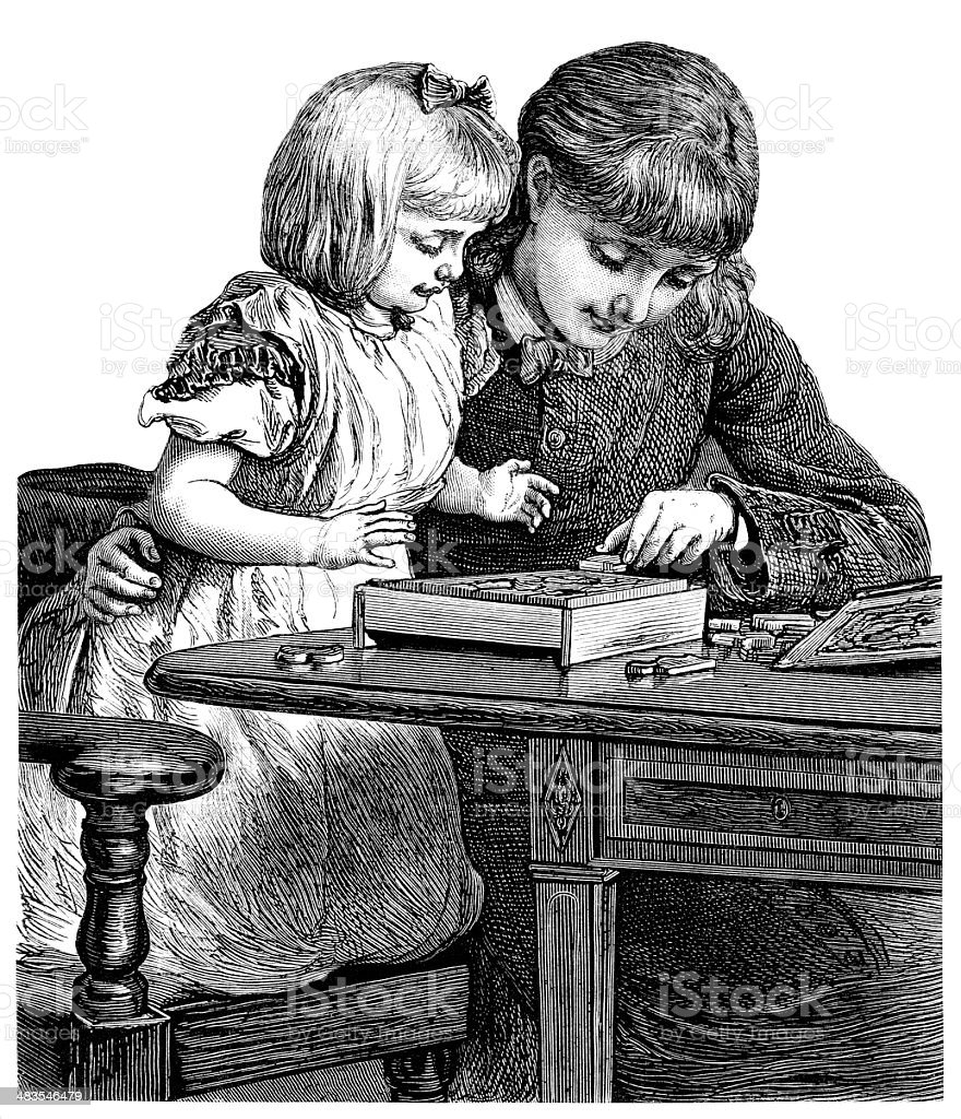 Victorian young woman and child doing a wooden puzzle vector art illustration