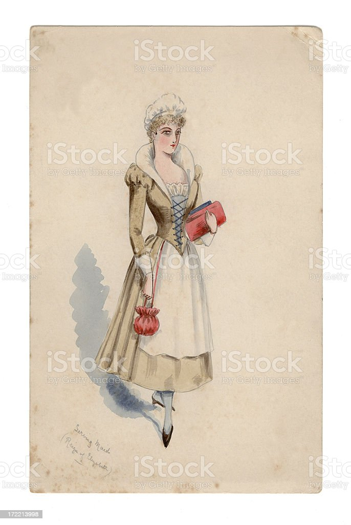 Victorian/Edwardian design for costume ball: Elizabethan serving maid royalty-free stock vector art