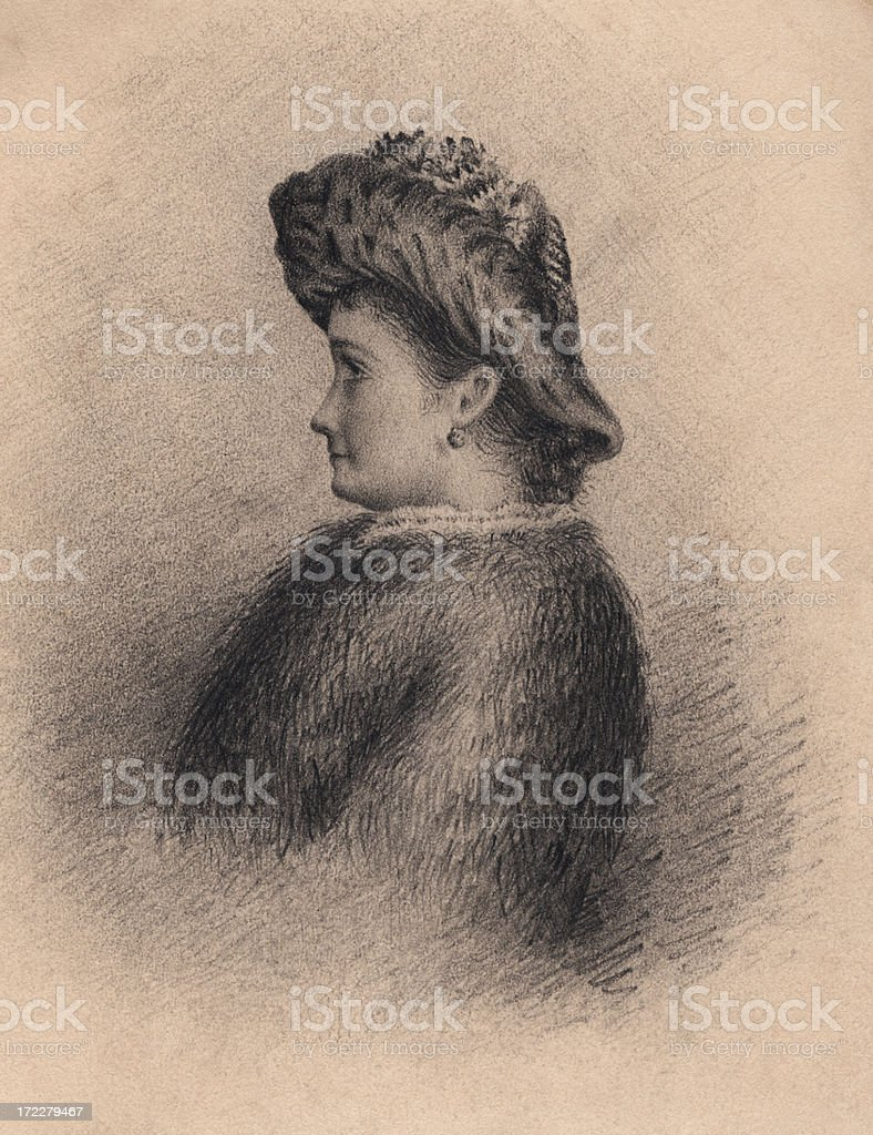Victorian/Edwardian pencil drawing of a woman royalty-free stock vector art