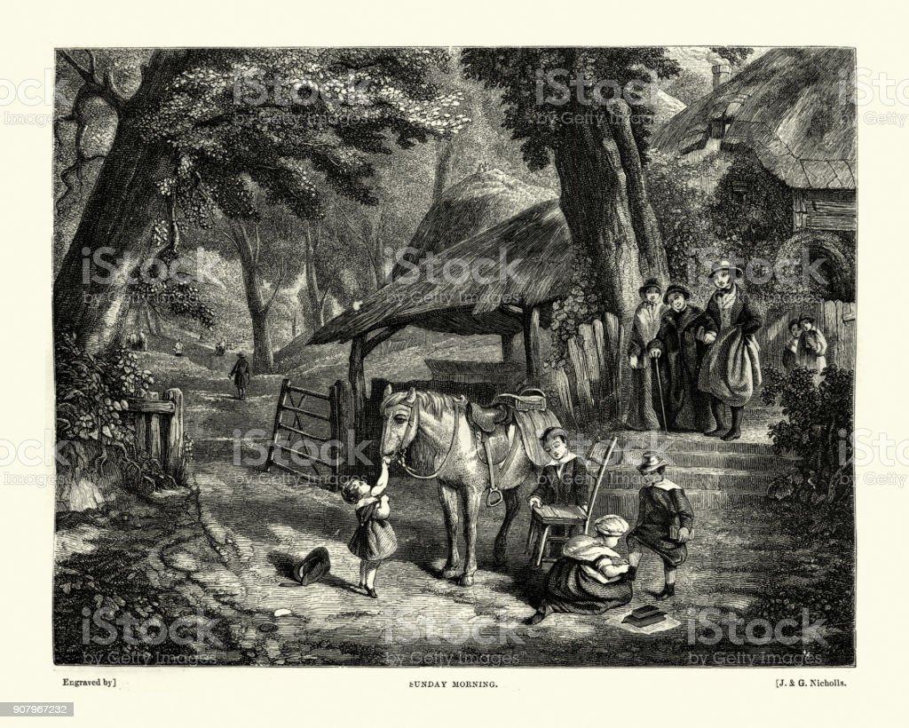 Victorians leaving for church on a Sunday morning vector art illustration