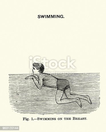 Vintage engraving of Victorians sports, Swimming, Man Learning the breaststroke, 19th Century
