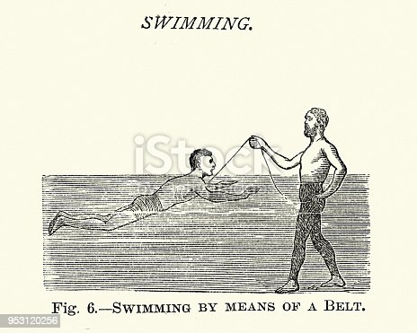Vintage engraving of Victorians sports, Swimming, Teaching man to swim using a belt, 19th Century