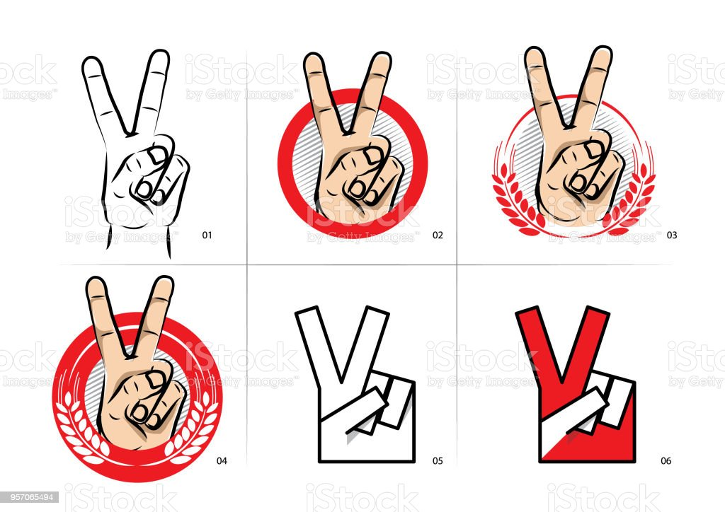 Victory Symbol vector art illustration
