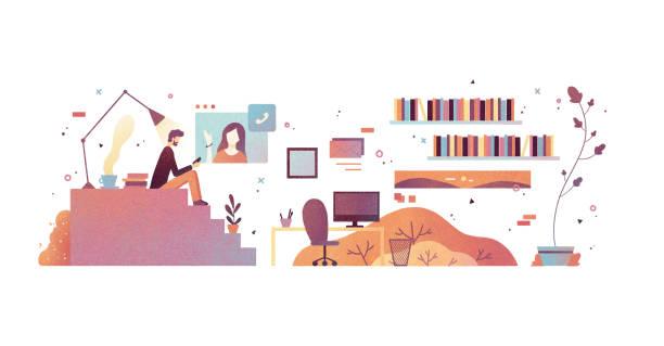 illustrazioni stock, clip art, cartoni animati e icone di tendenza di videochiamata - woman chat video mobile phone