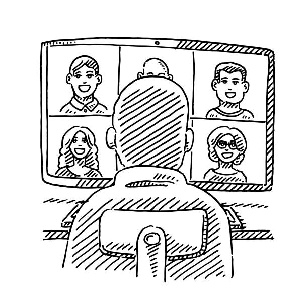 Video Chat Man Sitting In Front Of Monitor Drawing vector art illustration