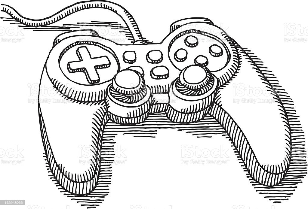 Video Game Controller Drawing vector art illustration