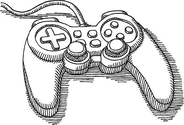 Video Game Controller Drawing Hand-drawn vector sketch of a generic contemporary Video Game Controller. Black-and-White sketch on a transparent background (.eps-file). Included files: EPS (v8) and Hi-Res JPG. game stock illustrations