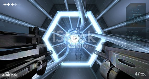 First-person view style video game scene. Weapons and kids.