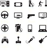 Video games and entertainment black & white vector icon set