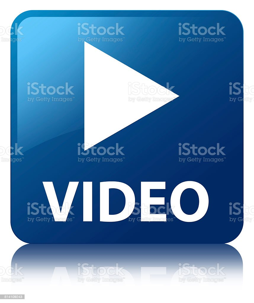 Video glossy blue reflected square button vector art illustration
