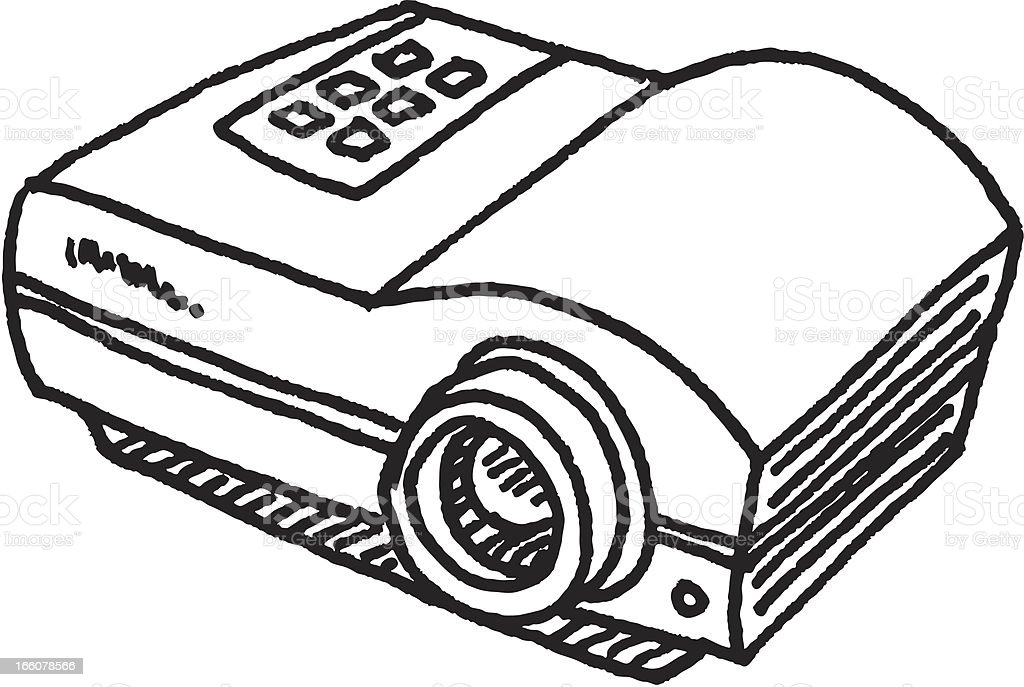 Video Projector Sketch vector art illustration