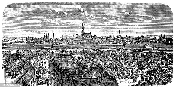 Illustration of a Vienna around the middle of the 16th century