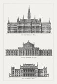 Representative buildings of Vienna from the 19th century: City Hall (top); Burgtheater (center); Stock Exchange (bottom). Wood engravings, published in 1897.