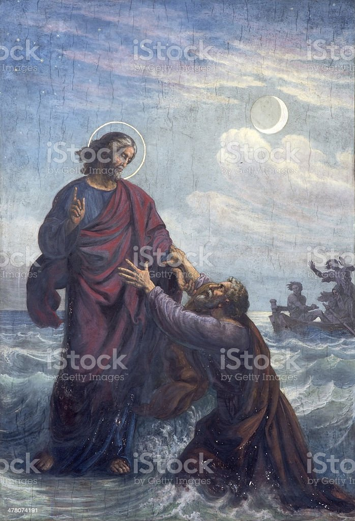 Vienna - Fresco of Drowned Peter and Jesus royalty-free stock vector art