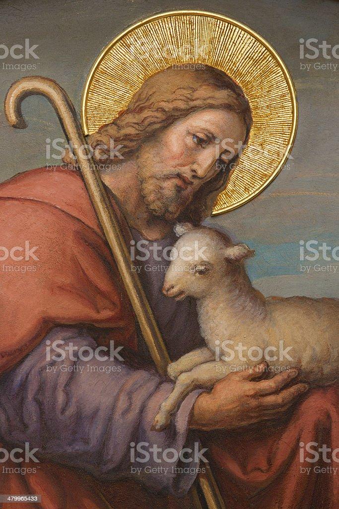 Vienna - Fresco of Jesus as good shepherd vector art illustration