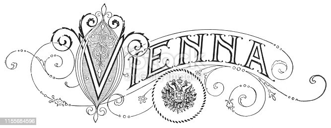 Vienna in Art Nouveau style text. Vintage halftone etching circa late 19th century.