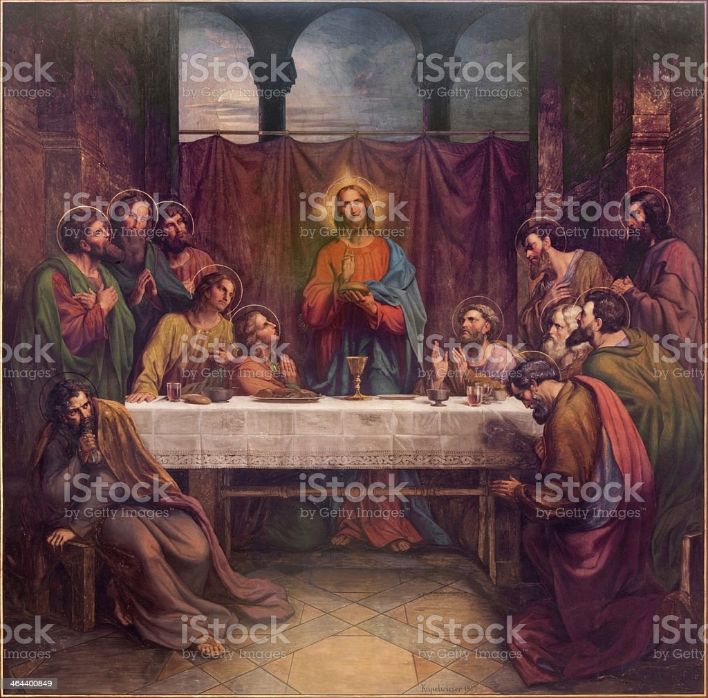 Vienna -  Last supper of Christ fresco vector art illustration