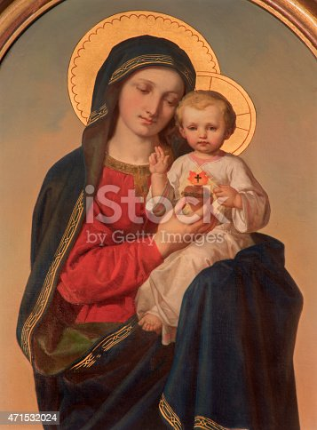 Vienna - The Madonna paint on the side altar of Sacre Coeur church by Anna Maria von Oer from end of 19. cent.