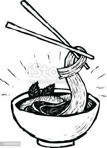 sketchy style illustration of vietnamese pho