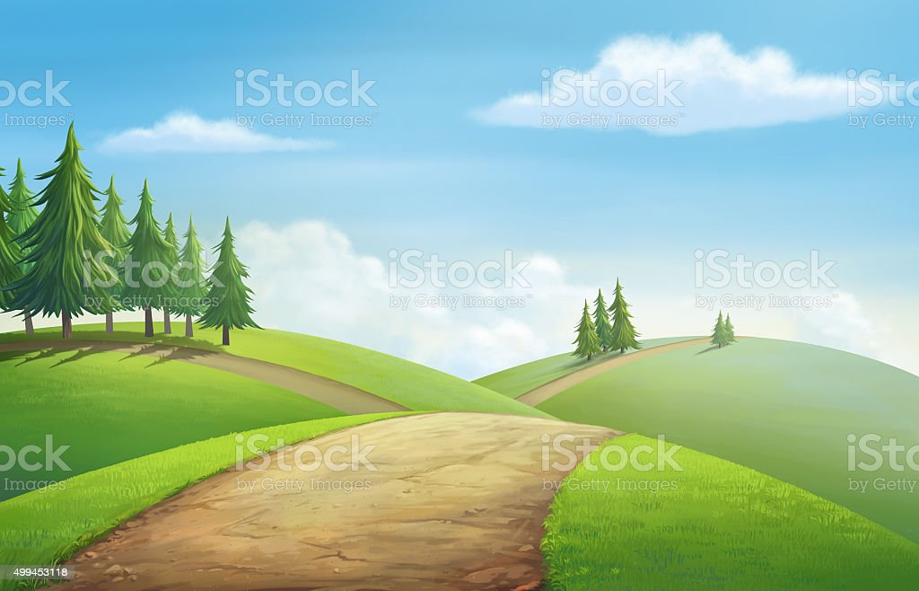 View for hill vector art illustration
