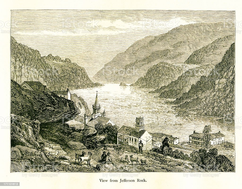View from Jefferson Rock, West Virginia, wood engraving (1872) royalty-free stock vector art