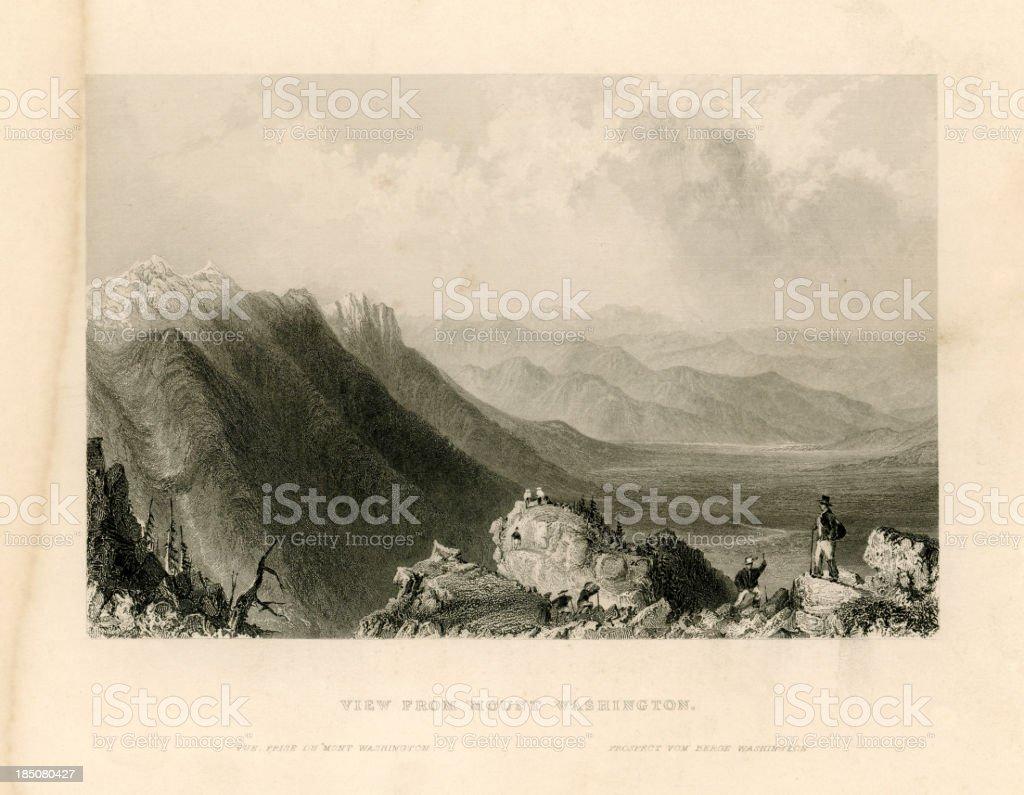 View from Mount Washington (Geo Virtue 1839) vector art illustration