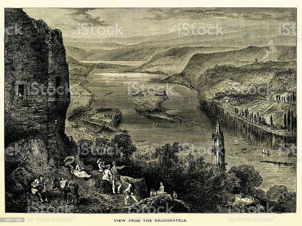 View from the Drachenfels, Germany I Antique European Illustrations royalty-free view from the drachenfels germany i antique european illustrations stock vector art & more images of 19th century