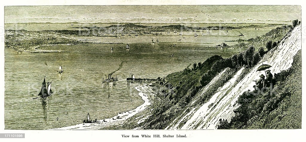 View from White Hill, Shelter Island, New York royalty-free stock vector art