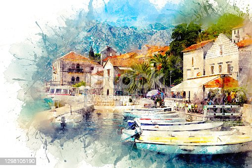 Watercolor illustration of a magnificent landscape on old paper. A view of a small cozy town with architecture in the old style, on the shores of the Boka Kotra Bay. Perast, Montenegro