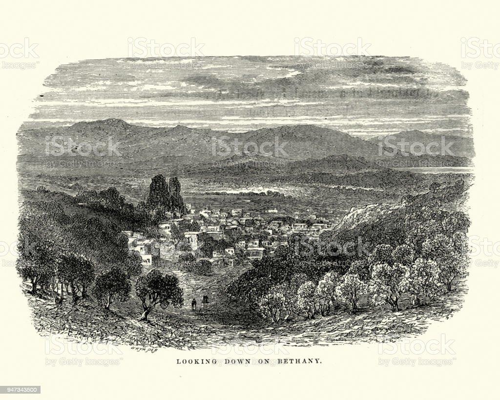 View of Bethany, 19th Century vector art illustration