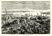Vintage engraving of View of Boston from Bunker's Hill, 19th Century