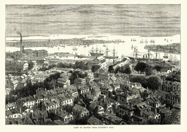 View of Boston from Bunker's Hill, 19th Century vector art illustration