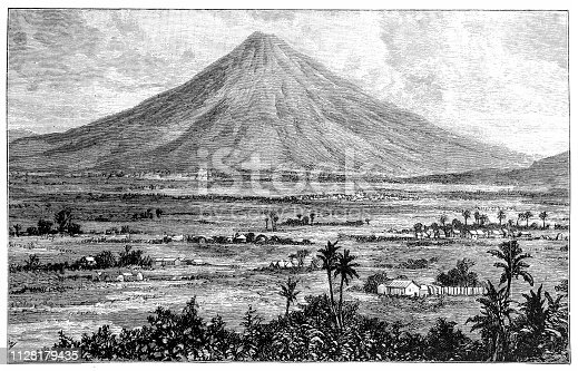 Illustration of a View of city and volcano San Miguel el Salvador