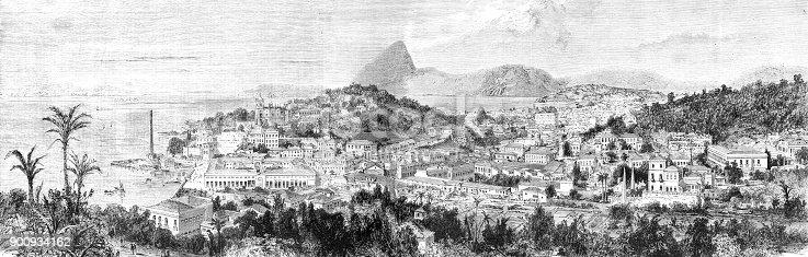 Steel engraving View of Rio de Janeiro Brazil