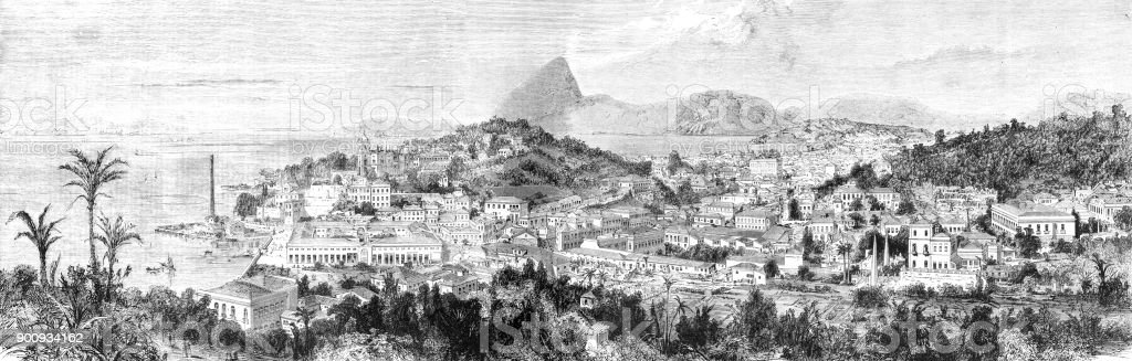 View of city Rio de Janeiro Brazil 1875 vector art illustration