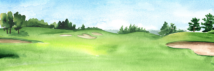 View of golf course with beautiful green field with a rich turf. Hand drawn watercolor illustration and background