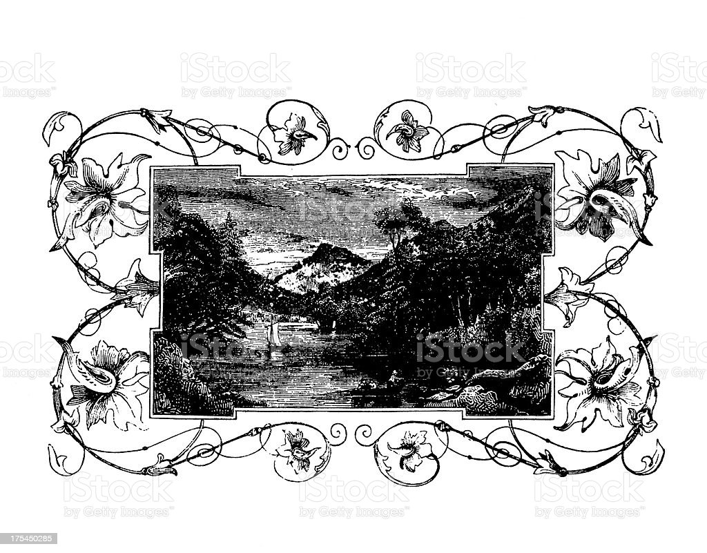 View of Lake George, New York  | Historic American Illustrations royalty-free stock vector art