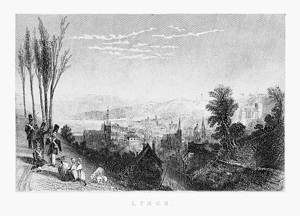 stockillustraties, clipart, cartoons en iconen met view of liege, belgium circa 1887 - maasvallei