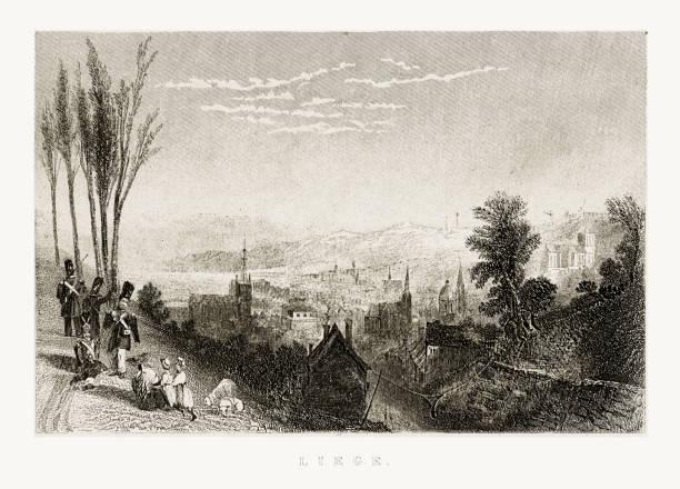 stockillustraties, clipart, cartoons en iconen met weergave van luik, belgië circa 1887 - maasvallei
