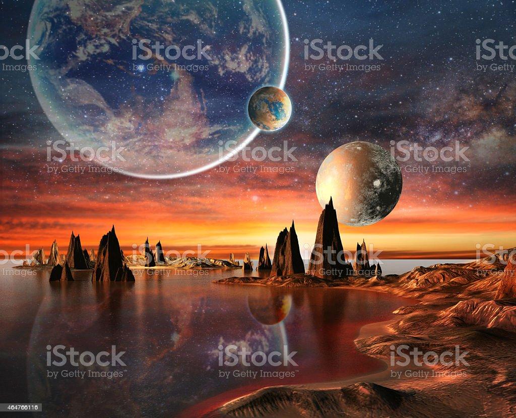 Fremden Planeten mit Berge und Meer auf Hintergrund und Planeten – Vektorgrafik