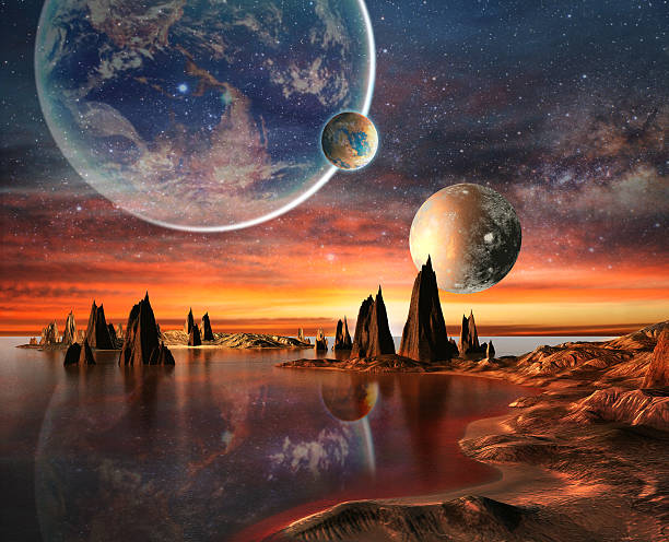 view of other planets from an alien planet - space exploration stock illustrations, clip art, cartoons, & icons