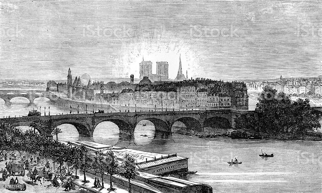 View of Paris circa 1874 royalty-free stock vector art
