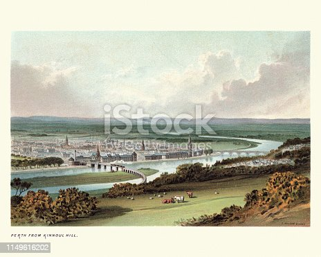 Vintage engraving of View of Perth, Scotland from Kinnoul Hill, 19th Century
